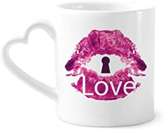 Valentine's Day Pink Lip Love Keyhole Coffee Mugs Pottery Ceramic Cup With Heart Handle 12oz Gift