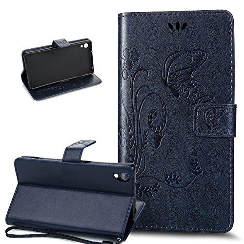 Kompatibel mit Sony Xperia Z2 Hülle,Sony Xperia Z2 Lederhülle,Prägung Groß Schmetterling Blumen PU Lederhülle Flip Hülle Ständer Karten Slot Wallet Tasche Schutzhülle für Sony Xperia Z2,Marine Blau
