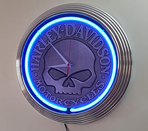 Neon reloj Harley Davidson Motorcycle Skull–Neon Azul Taller–Reloj de pared