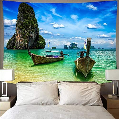 Mar playa cielo azul paisaje tapiz tela de pared arte tapiz hippie colgante de pared psicodélico toalla de playa tela de fondo A2 180x230cm