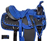 Acerugs Beautiful Western Pleasure Trail Barrel Racer Show Horse Saddle Free TACK Set PAD Silver Crystals (Royal Blue, 15')