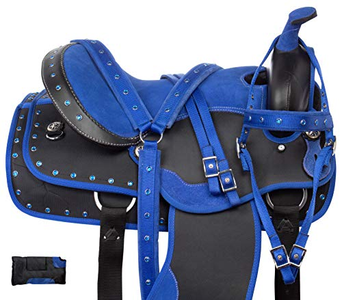 Acerugs Beautiful Western Pleasure Trail Barrel Racer Show Horse Saddle Free TACK Set PAD Silver Crystals (Royal Blue, 14')