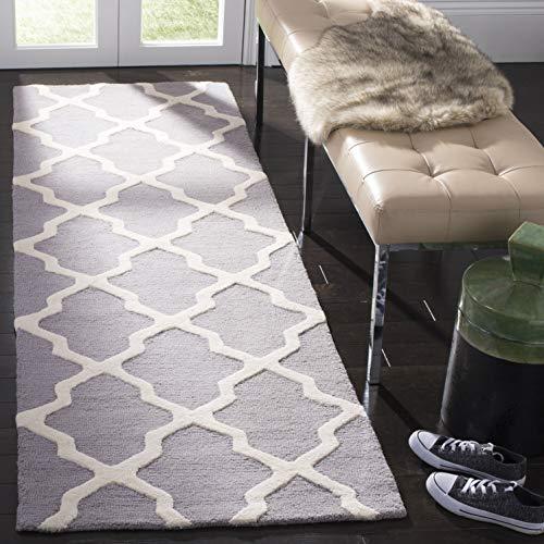 Safavieh Ava Textured Area Rug, 76 X 182 Cm Strukturierter Teppich, CAM121, Handgetufteter Wolle Läufer, Silber/Elfenbein