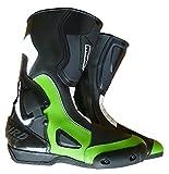 WinNet Stivali da Moto con Protezione antitorsione Verde Kawasaki Uomo Donna, Taglia: 45