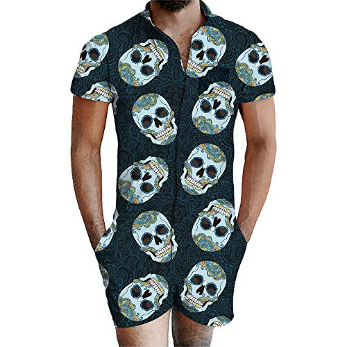 Blwz Romper Mannen Siamese Shorts Zomer Korte mouw 3D Donker Groen Schedel Print Slim fit Sweatshirts Uniform Jumpers Outdoor Vrije tijd S-3XL