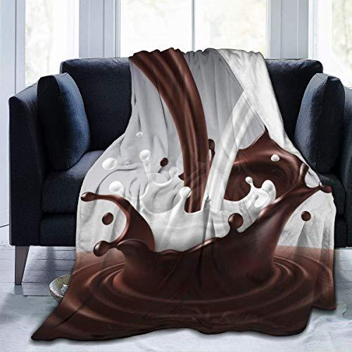 AEMAPE Cozy Plush Fuzzy Fleece Blanket Chocolate Milk Splash 3D Impreso Throw Manta Ultra Suave Microfibra Fleece Colcha para Cama Sofá Adultos Niños Niñas