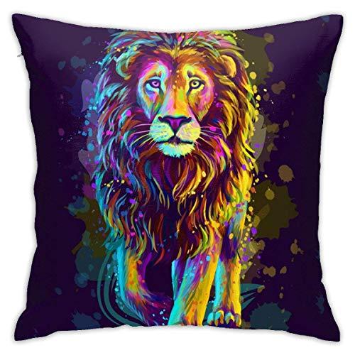 Hangdachang - Funda de almohada personalizada, diseño de león artístico de neón para coche, sofá, hogar, 45 x 45 cm
