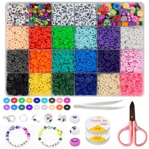 Filippa & Co perline per bigiotteria fai da te: perline piatte Heishi colorate, perline lettere, perline smiley, perline per braccialetti, collane, e orecchini, e perline per phone beads