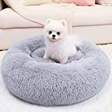 WAYIMPRESS Calming Dog Bed for Small Dog & Cat , Comfy Self Warming Round Dog Bed with Fluffy Faux Fur for Anti Anxiety and Cozy (24x24 inch, Grey)