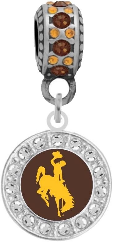 University 5% OFF of Classic Wyoming Crystal Logo Compatible Pa Fits Charm With