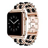 DamonLight Compatible for Apple Watch Band 38mm Women, Jewelry Bracelet Rose Gold Dressy Bling Wristband 40mm iWatch Series 6 5 4 3 2 1 SE