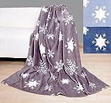 heimtexland super weiche Kuscheldecke Schneeflocken dunkelblau 140 x 190 cm Wohndecke Decke Eiskristall Sofadecke Winter Weihnachten Ökotex Zertifiziert Typ452