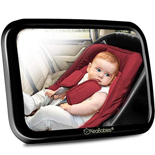 Bambini Specchio Per Auto - 180 Ampia Visualizzazione Chiaro Specchio per Seggiolino Auto - Infrangibile Specchietto Retrovisore di Sicurezza per Bambini (Sleek Black)