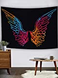 Marubhumi Psychedelic Tie Dye Mandala Angel Wings Hippie Boho Indian Tapestry Wall Hanging Throw Symbolizing Hope Faith Love (Black Multi, 30x40 Inches)