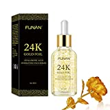 24K Gold Face Serum, Anti-Aging Skin Repair, Topical Facial Serum with Hyaluronic Acid Vitamin C Helps with Moisture, Firm and Whitening Skin (1 FL OZ)