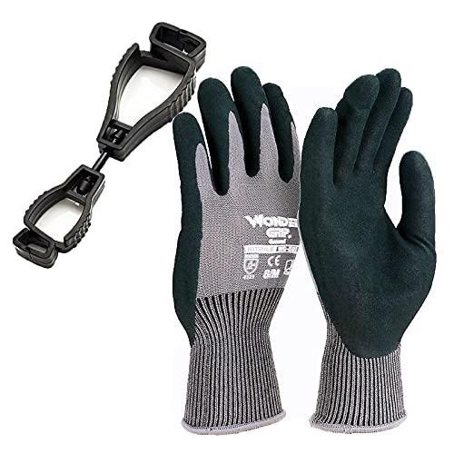 3 Paar Arbeitshandschuhe,Gartenhandschuhe Polyester Nitril Beschichtung EN 388 Zertifizierter Superschutz Geeignet für Gartenarbeit, Mechanische Bedienung, Zimmerei, Bauarbeiten(L)