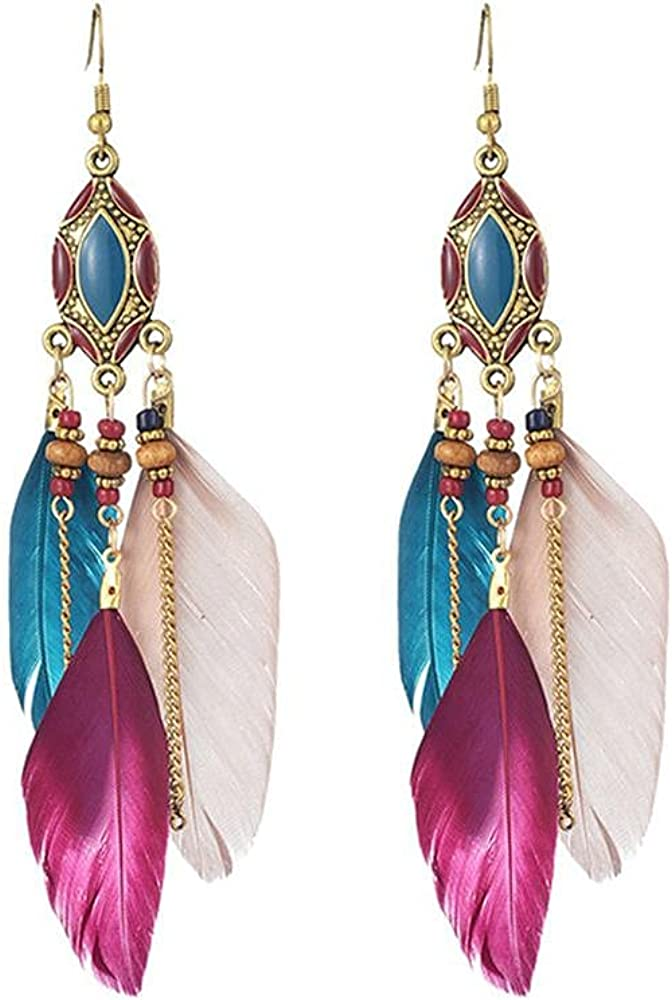 Boho Feather Earrings Vintage Long Beaded Tassel Dangle Earrings Handmade Colorful Feather Drop Earrings Bohemian Fringe Tassel Faux Feather Earrings Punk Vintage Tassel Feather Dangle Earring