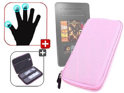 """DURAGADGET Housse étui résistant en EVA Rigide Rose + Gants capacitifs conducteurs Taille M (Moyen) pour Nouvelle Tablette Kindle Fire 7"""" d'Amazon – G"""