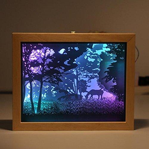 Bazaar Cadre photo 3D en papier avec ombres USB Veilleuse Cadeau pour Home Office Mariage Anniversaire Decor
