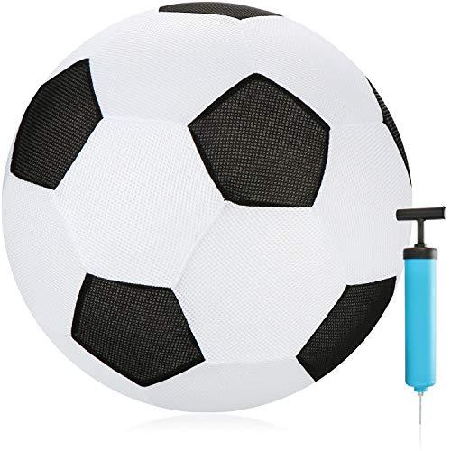 com-four Pallone da Calcio Gonfiabile in Tessuto 50 cm - Beach Soccer per L'Estate - Netball con Pompa per Il Giardino, la Spiaggia e Il Divertimento in Acqua (Bianco/Nero)