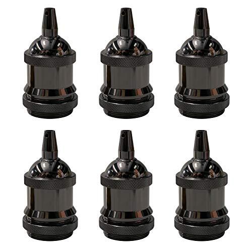 E27 Vintage Lampenfassung, Edison E27 Fassung, CE-isoliertes Metall-Lampenfassung, Schraubring Glühbirnenfassung, Mit Metallklemme, Lampenschirm montierbar, für DIY-Hängeleuchte, (schwarz, 6 pcs)PEBA