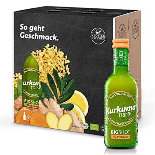 6er Pack Kloster Kitchen Bio KurkumaTRINK Bigshot 6x 250ml, je 12x 20ml Ingwer Shot, mit echten Ingwerstückchen, 12 Shots in EINWEG Glasflaschen, vegan