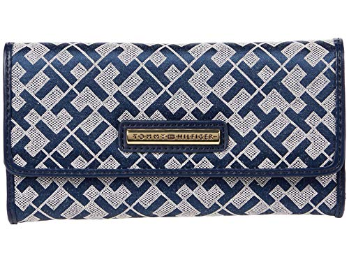 Tommy Hilfiger Dome Bar Geo Jacquard Continental Wallet Navy/White One Size