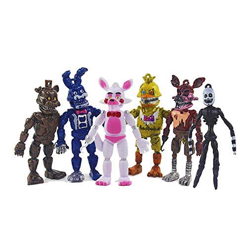 Five Nights at Freddy's Figurine Jouets de Collection Personnages de Jeu Freddy Bonnie Funtime Foxy Chica Foxy The Pirate Marionette Personnages de Jeu Action Figurines Cadeau pour Enfants 6PCS-19CM