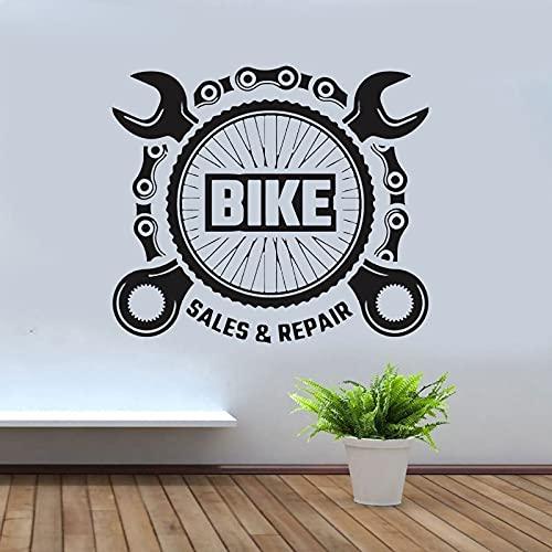 AiEnmaw Bicicleta Shop Wall Decal Bike Ventas Reparación Ventas Vinilo Decoración Cadena Neumático Diseño Bicicletas Servicio Mural Interior 47x42cm