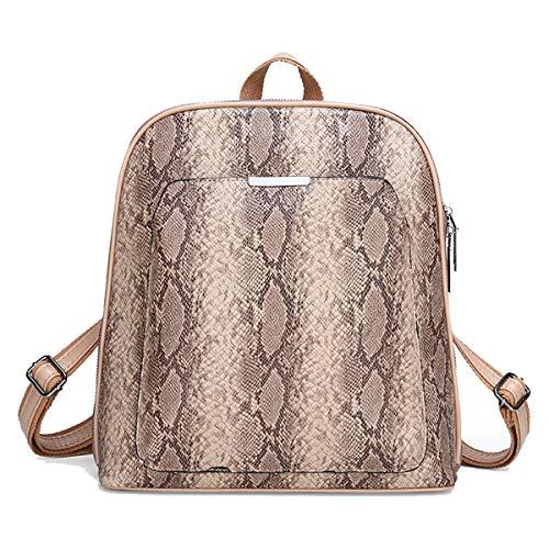 Tisdaini® Mujer Moda Alta capacidad Textura de piel de serpiente Bolso mochila Caqui