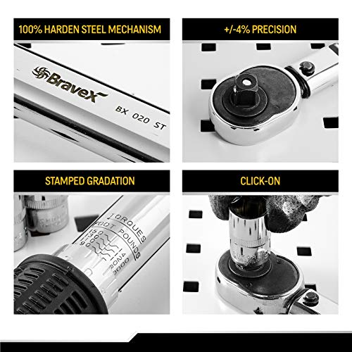1/2-Inch Torque Wrench Drive, Click Torque Wrench kit for Bikes Car Motorcycle Multitool   Quick-Release Reversible   Non-Slip Grip  10~150 ft./lb, 14~203 Nm