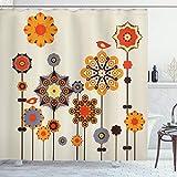ABAKUHAUS Mandala Duschvorhang, Eastern Floral Design, Set inkl.12 Haken aus Stoff Wasserdicht Bakterie & Schimmel Abweichent, 175 x 200 cm, Beige Orange Blaugrau