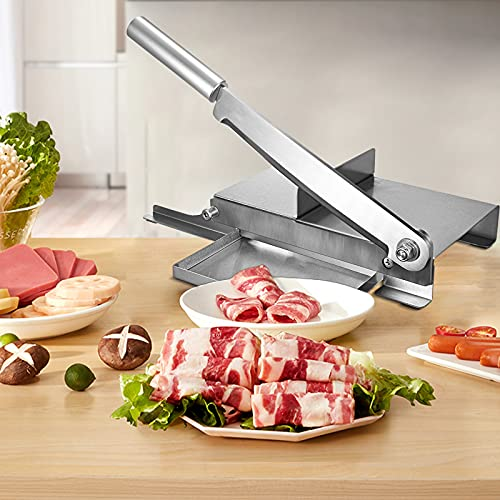 TELAM Bone Cutter Machine for Home Use Manual slicer Household slicer Stainless steel slicer Food slicer Beef, mutton and bacon meat slicer Household cooking 9.5 inch