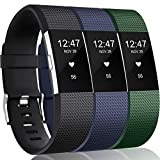 Wepro Bands Replacement Compatible with Fitbit Charge 2 for Women Men Large, 3 Pack Sports Watch Band Strap Wristband Compatible with Fitbit Charge2 HR Fitness Tracker, Navy Blue/Olive/Black