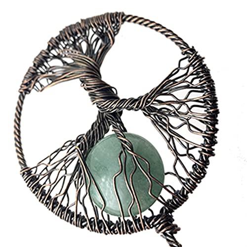 DGDH Life Tree Pendant Necklace, Natural Crystal Stone Men's And Women's Life Tree Pendant Jewelry DIY Necklace Bracelet Earrings Jewelry (Metal color : 02)