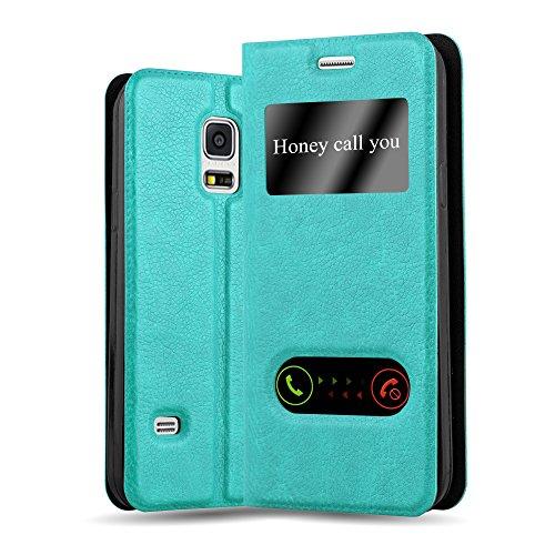 Cadorabo Custodia Libro per Samsung Galaxy S5 / S5 NEO in TURCHESE MENTA - con Funzione Stand e Chiusura Magnetica - Portafoglio Cover Case Wallet Book Etui Protezione