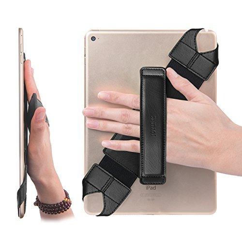 joylink Universal Tablet Hand Strap Holder, 360 Degrees Swivel Leather Handle Grip with Elastic Belt, Secure & Portable for 10.1' Tablets (Samsung Asus Acer Google Lenovo iPad etc), Black