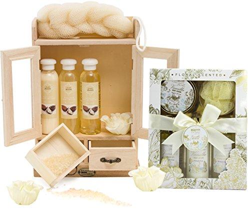 BRUBAKER Cosmetics - Coffret de bain - Beurre de karité & Vanille/Rose/Menthe - 15 Pièces - Armoire en Bois - Idée cadeau