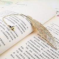 学生文具フレンズギフト包装メタルフェザーブックマーク豪華な黄金のブックマークのクリエイティブペンダントギフトボックス (色 : K)