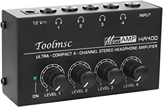 Toolmsc 4チャンネル ヘッドフォンアンプ オーディオ ステレHA400、聖歌隊、パーソナル録音用のDC 12V電源アダプタを備えたコンパクトな4チャンネルステレオヘッドフォンアンプ、超低ノイズ(ブラック)