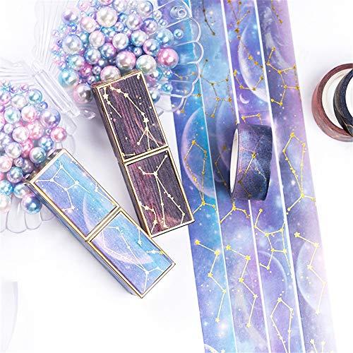 Sarah Duke Washi Masking Tape Set The Starry Sky 15 mm breit für DIY Dekoband Sammlung für Scrapbooking Basteln Kleber Schulbedarf Geschenkverpackung. Lila Sternenhimmel