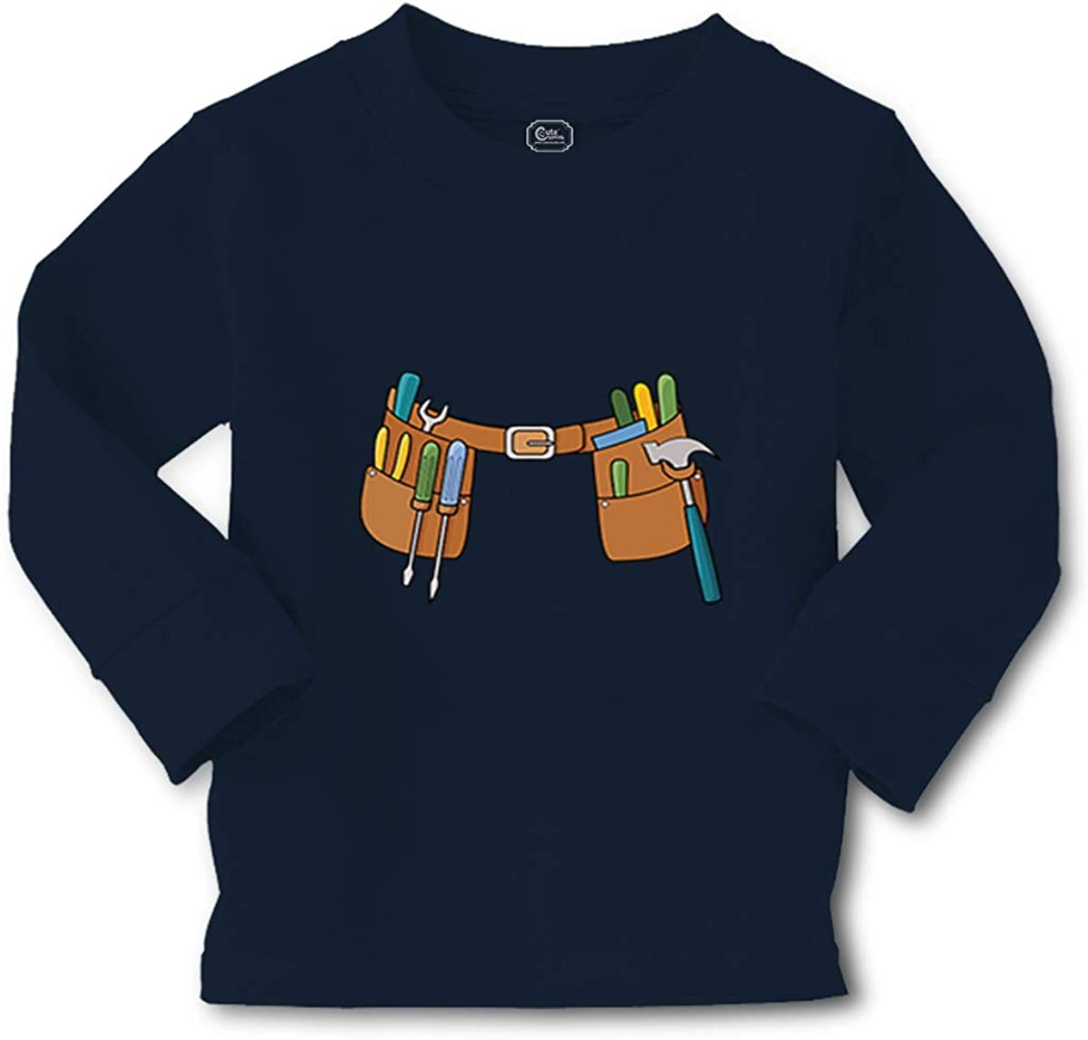 Cute Rascals Kids Long Sleeve T Shirt Tool Belt Funny Humor Cotton Boy & Girl Clothes Funny Graphic Tee Navy Design Only 4T