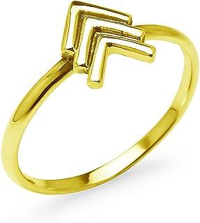 خاتم 925 من الفضة الاسترلينية سهم الثلاثي شيفرون على شكل حرف V للنساء الفتيات المراهقات | المقاسات 5-10