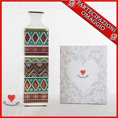 Ingrosso e Risparmio Cuorematto - Jarrón de decoración de porcelana con decoraciones geométricas, de estilo oriental, detalles de boda solidarios, con caja de regalo