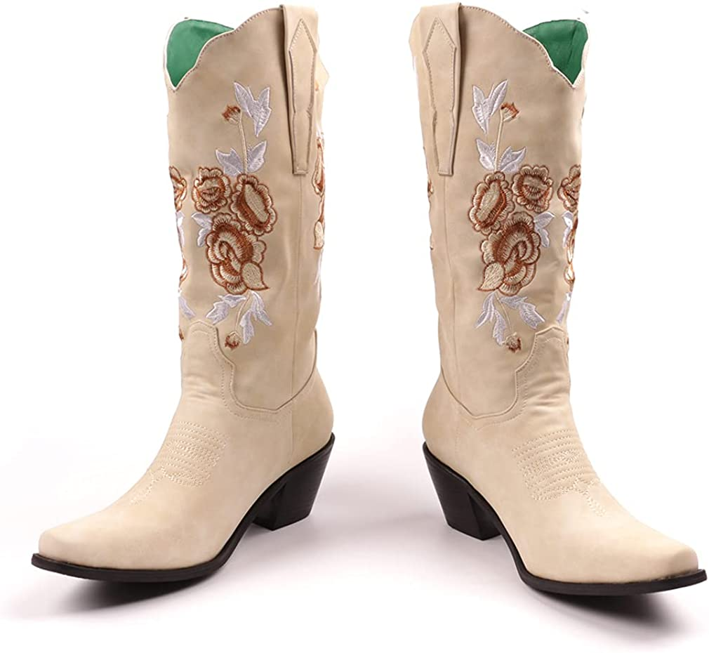SO SIMPOK Women Embroidered Snip Toe Cowgirl Boots Ladies Mid Calf Western Short Boots