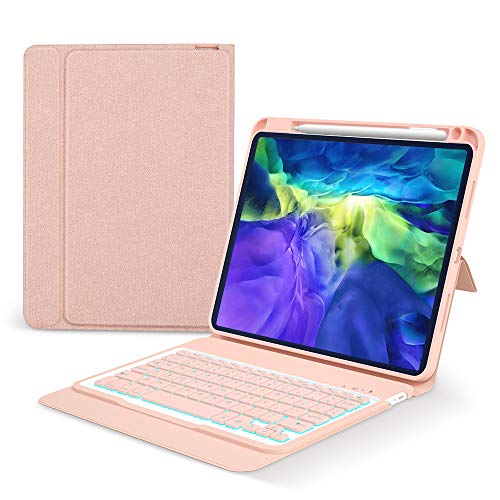 Keyboard Case for iPad Pro 11 2020/2018 -Smart Folio BT Keyboard case for iPad Pro (1st/2nd Generation) - Soft TPU Protective with Honeycomb Designed-ipad pro Keyboard case with Pencil Holder, Pink