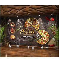 Iusasdz カスタム3D壁紙クリエイティブな雰囲気グルメ漫画ピザファーストフードレストランの背景リビングルームハンバーガー3D壁紙280X200Cm