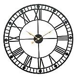AMYZ Reloj de Pared de Hierro con números Romanos - Relojes Decorativos para Sala de Estar,Reloj de Pared Romano Retro de Hierro Forjado silencioso