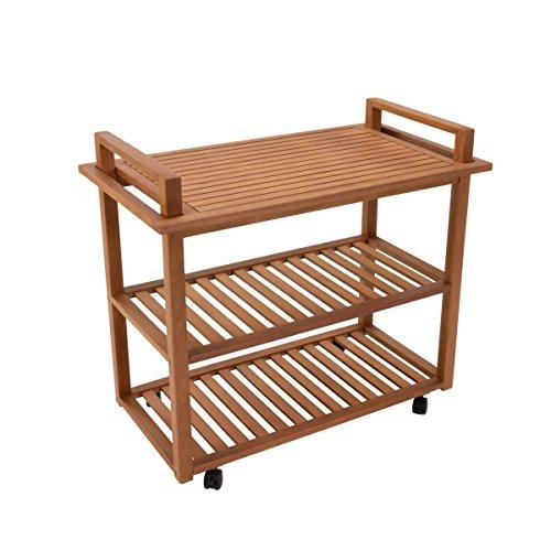Pureday miaVILLA Servierwagen Pier - Outdoorgeeignet - Für Küche und Garten - Eukalyptusholz