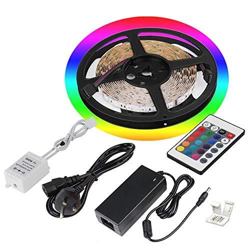 5 M RGB LED Tira de la lámpara (16.4 pies) 24V 14.4W Cada metro para el techo de la cocina del gabinete de la cocina del hogar, el cambio de color LED de la cuerda Iluminación 300 SMD5050 LED (excluye